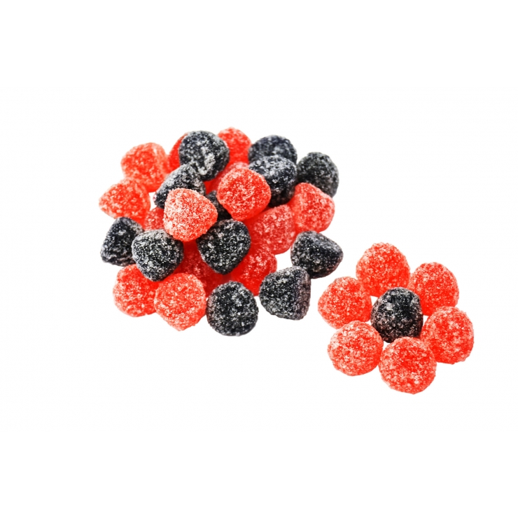 THE BERRIES IN THE SUGAR-ACID COATING